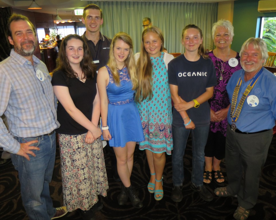 Celebrating our Youth Night last week were Assistant Narooma Youth Director David McInnes, left, Eden Brennan (Conoco Phillips Science Experience), Jacob Read (RYLA), Melanie Miller (2016 Narooma Rotary Tertiary Scholarship winner), Paris Blessington (Model United Nations Assembly), Georgia Poyner (Conoco Phillips Science Experience), Narooma Youth Director Lynda Ord and Narooma Rotary President Bob Antill