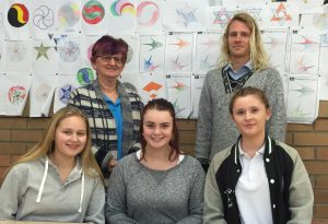 Narooma High's team for MUNA is Paris Blessington, left front, Lilly Burgess and Shania Woodard, with mentors Narooma Rotarian Sandra Doyle, back left and Narooma High teacher Lachlan Reilly. Cyann Vlatovic was not available for the photo.