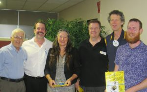 Narooma Rotary President Michael O'Connor, MC Narooma Rotarian David McInnes, Lisa Miller from the Office of Environment and Heritage, Solar Council CEO John Grimes, Expo Coordinator Frank Eden and Lawrence McIntosh from SolarShare Canberra.